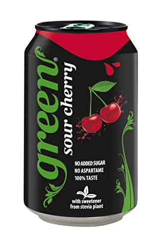 Green Sour Cherry Cans 24 Pack, No Added Sugar Soft Drink, Low Calorie, Sparkling Natural Cherry Flavour - Bulk Pack of 24 Cans x 330 ml