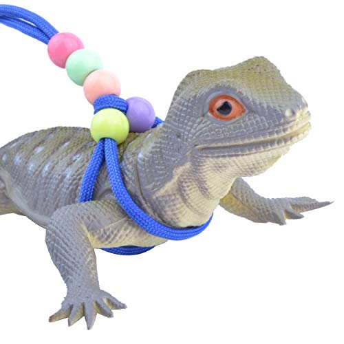 Adjustable Reptile Training Lead Harness Leash Nylon Rope for Lizard Crested Gecko Chameleon Guinea Pig Ferrets Hamster Rats (Blue)
