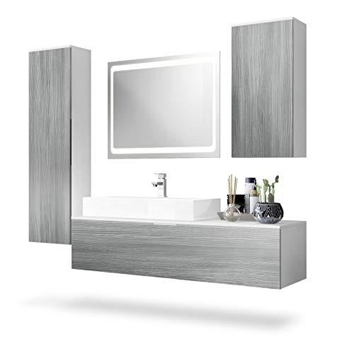Conjunto de Muebles para baño Beach, Cuerpo en Blanco Mate/Frentes en Avola-Antracita,...