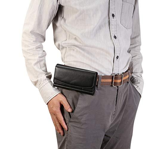 Zhangl leren hoes voor heren lamsvacht-textuur multifunctionele universele mobiele telefoon heuptas lederen tas voor smartphones of onder, met kaartsleuf (zwart) leren tassen, zwart