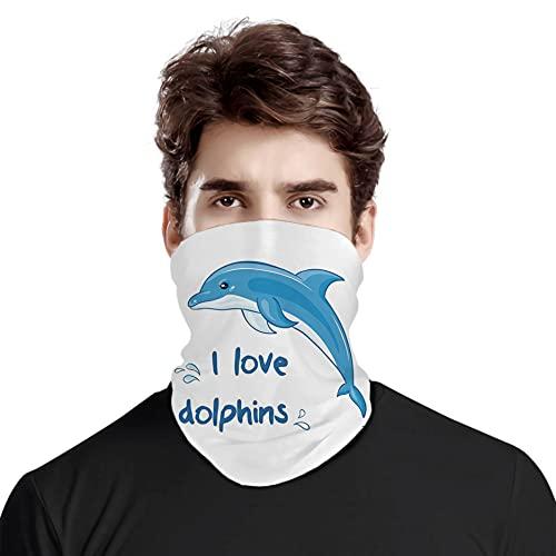 FULIYA Gran cara cubierta bufanda protección cuello, estilo de dibujos animados, animal oceánico con frase I Love Dolphins e imagen de salpicaduras, variedad bufanda de cabeza unisex
