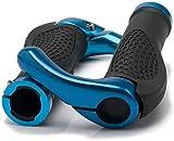 HUGEE Puños Manillar de Bicicleta - Diseño Ergonómico Antideslizante Caucho Bike Agarre con Aluminio Cuernos,Aptas para Bicicleta Moto Montaña MTB BMX Plegable Bicicleta (Azul)