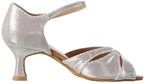 Diamant Damen Tanzschuhe 144-077-246 Standard & Latein, Silber (Weiß-Silber), 42 EU - 6