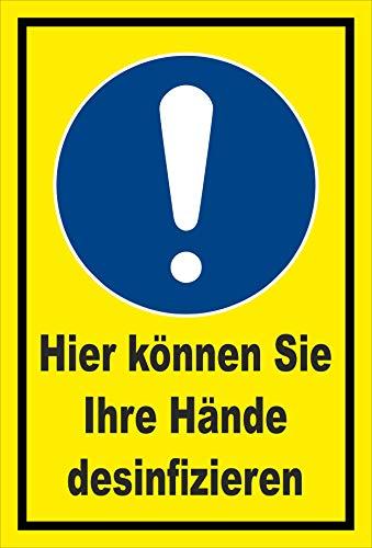 Melis Folienwerkstatt Schild Hände desinfizieren - 45x30cm - Bohrlöcher - 3mm Hartschaum – 20 VAR S00225-035-C