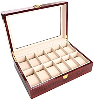 12 Pcs Classic High-Grade Watch Bracelet Case Storage Box Claret Wood Spray Paint with Glass Plate Window Red