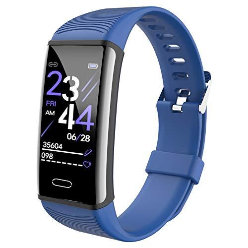 QFSLR Smartwatch Hombre Mujer, Pulsera Actividad Inteligente con Monitor De Frecuencia Cardíaca Monitor De Presión Arterial Monitoreo De Oxígeno En Sangre Seguimiento del Sueño,Azul