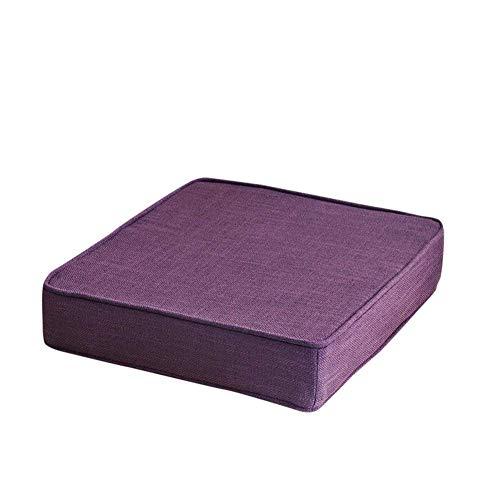 Cojín de asiento con sobrecargado cuadrado, esponja espesando cojines para silla muebles de patio almohadillas de asiento de suelo alimentos para piezas de silla al aire libre para exteriores púrpura