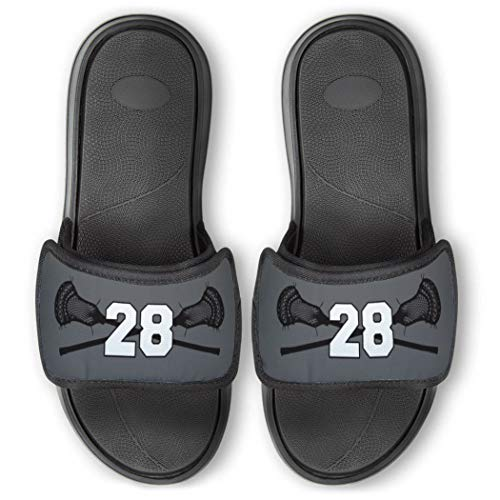 Repwell Lacrosse Slide Sandals   Your Number   Gray   Y7