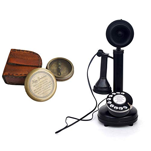 Antique Replica Rotary Dial Candlestick Functional Telephone Free Brass Antique Compass with Leather Case