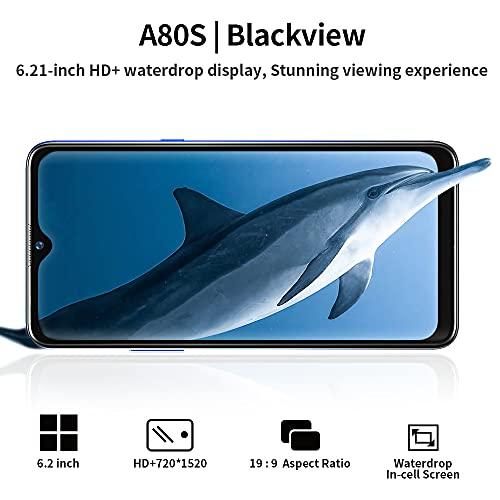 """Téléphone Portable 4G Blackview A80s Smartphone Débloqué 6.21""""HD+ IPS Écran Waterdrop Caméra Quatre Arrière 13MP 64Go+4Go-SD 128Go Batterie 4200mAh Android 10 Dual SIM/GPS/Face ID"""