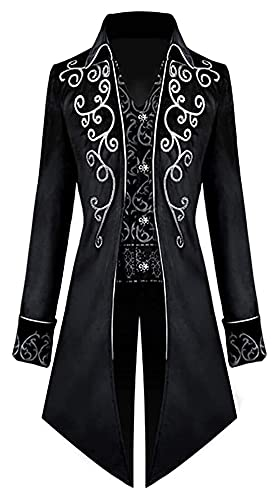LPQSY Cosplay Cosplay Veste Steampunk Homme Jacket Gothic Fock Costume Cosplay Uniforme pour Halloween (Couleur : Black, Size : L)