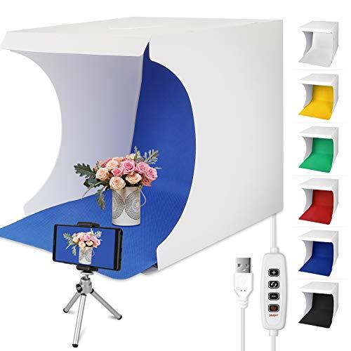 Linkstyle Fotostudio 32 x 31 cm (13 x 12 Zoll) Lichtzelt Faltbare Studiobox Fotografie Leuchtkasten Ausgestattet Lichtbox mit 6 Farben Backdrops für...