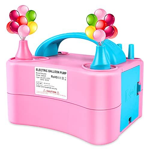 Deeplee Elektrische Luftballonpumpe, Aufblasgerät Doppeldüse Ballonpumpe für Party, Geburtstag, Hochzeit und Festivaldekoration