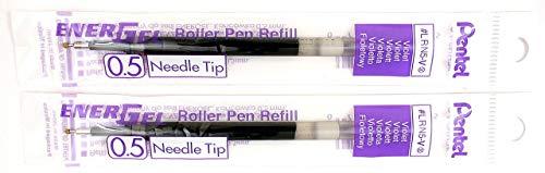 2 Pk Pentel LRN5-V EnerGel Refills, 0.5 mm Fine Needle Tip, Violet