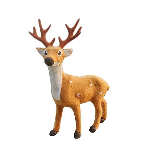 Chowcencen Teng Hong hui 15/20/25 / 30cm de Navidad Elk Felpa Simulación Ciervos Año Nuevo Adornos de Navidad Ciervos decoración del hogar de los Ornamentos del Regalo