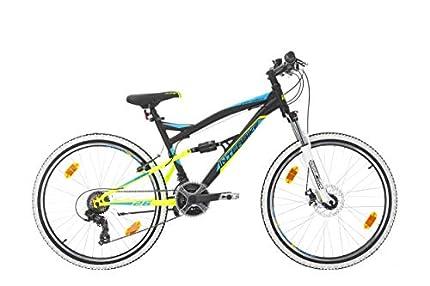 Bikesport Parallax Bicicleta De montaña Doble suspensión 26 Ruedas, Shimano 18 velocidades (Azul Negro)