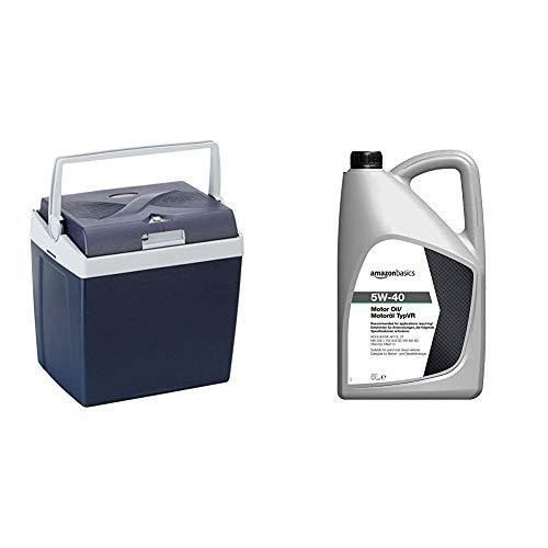 AmazonBasics Thermoelektrische Kühlbox mit Kühl- und Warmhaltefunktion - 26 Liter, 230V / 12V DC & Motoröl 5W-40 Typ VR, 5 l