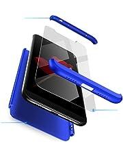 Ttimao Hoesje voor Xiaomi Redmi Note 6 Pro PC Harde Schaal Beschermhoes +1*Screen Protector Ultradunne Krasbestendig Shock Proof 360 ° Beschermhoesje 3 in 1 Beschermende Hoes-Blauw