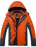 GEMYSE Chaqueta de Esquí Impermeable de Montaña para Hombre Abrigo de Invierno de Lana Antiviento con Capucha (Naranja Gris 83,S)