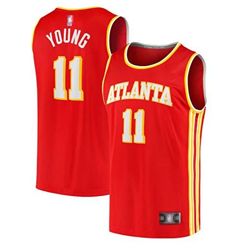 CLKJ 2021#11 Hawks Trae Young New Basketball Uniforme, camiseta de baloncesto para hombre, ventiladores, malla transpirable Swingman, camiseta roja-XXL