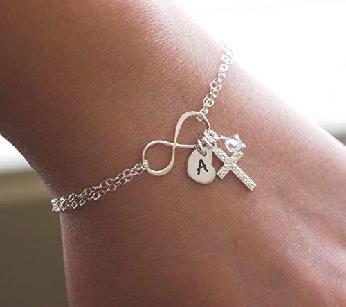 Dainty Cross Bracelet - Personalized - Sterling Silver - Infinity Bracelet - Initial Bracelet - Heart Initial - Birthstone - Simple Cross Bracelet - Delicate - Confirmation - Unique