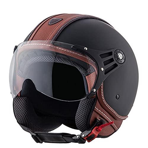 TR-yisheng Casco Negro 3/4 Casco de Motocicleta Medio Casco Retro, Casco Harley...