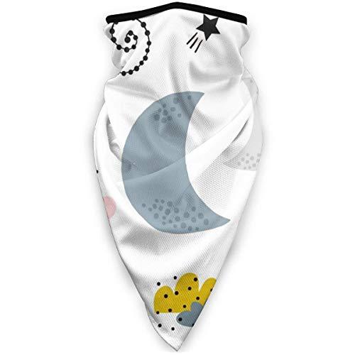 Banda De Sudor 12 En 1,Patrón Infantil Sin Costuras con Calentador De Cuello De Nubes Lunas, Sombreros De Microfibra De Media Cara para Caminar,24X52Cm