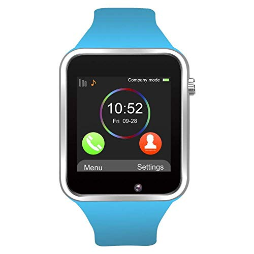 Bluetooth Smart Watch Fitness Tracker, Touch Screen Smart Wrist Smartwatch Support SIM SD Card Slot Make/Answer Phone Camera Pedometer Compatible Android iOS Samsung LG for Women Men Kids (Blue)