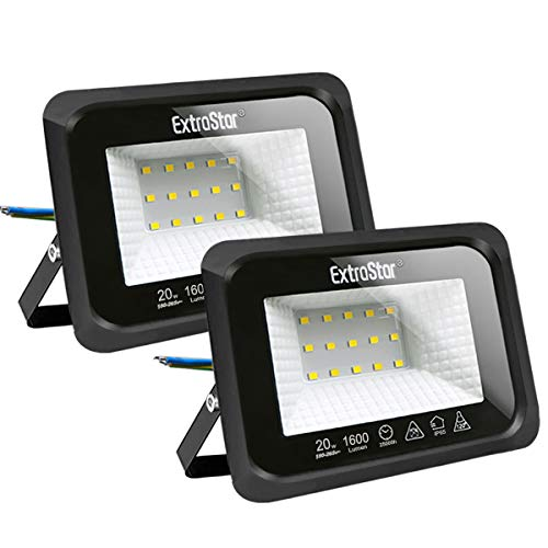 Focos LED exterior 20W Extrastar Potente Luces Led Exterior IP65, Luz de Seguridad Luz fría 6500K para Terraza, Jardín, Patio, Parque, Garaje [Clase de eficiencia energética A+]2 paquetes