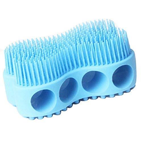 Yener Blue Soft Silicone Body Brush Massage Scrub Bath Brush for Baby Shower Washing Exfoliating Gloves Foot Scrubber, Blue