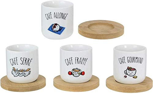 Le Fabuleux Shaman 38-2X-001 Tasses à café et leurs sous-tasses Café allongé frappé gourmand serré Set de 4 assorties Porcelaine et bois