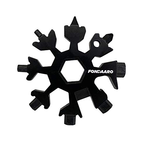 Fondaaro 18-in-1 Snowflake Stainless Multi tool - Pocket Keychain - Mini Screwdriver - Box Cutter - Bottle Opener - Cool Dads Gifts and Gadgets for Men