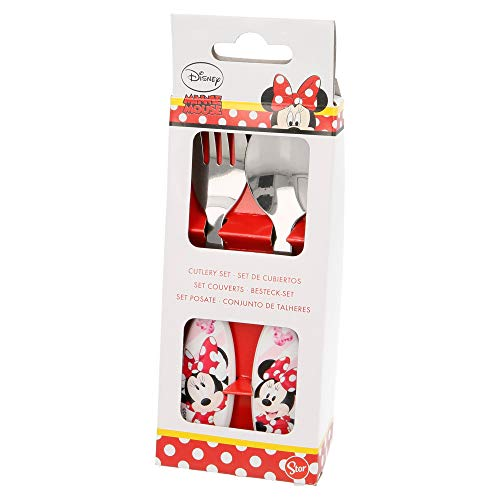 SET CUBIERTOS METALICOS 2 UNID. MINNIE MOUSE - DISNEY - ELECTRIC DOLL