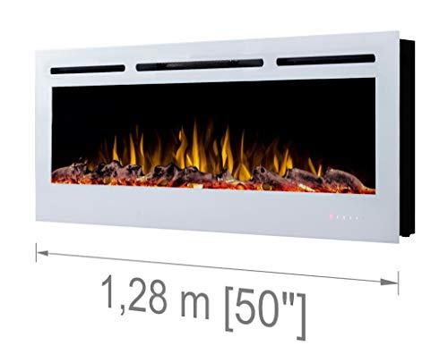 Noble Flame Paris Weiß 1280 - Elektrokamin Wandkamin Kaminofen Kamin - Wandmontage Fernbedienung - 14,0 cm Einbautiefe - Verschiedene Breiten