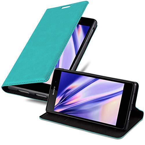 Cadorabo Hülle für Sony Xperia Z1 in Petrol TÜRKIS - Handyhülle mit Magnetverschluss, Standfunktion & Kartenfach - Hülle Cover Schutzhülle Etui Tasche Book Klapp Style