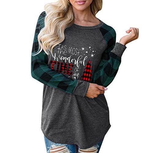 Femme Sweat-Shirt de Noël Pull à Manches Longues Sapin de Noel Impression Manche Sweat-Shirt Top Pull Grande Taille