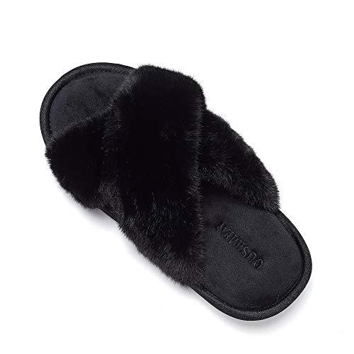 SYKT Pantofole da Donna Pantofole in Pelliccia Soffice per l'intera Stagione Pantofole in Peluche Morbide Pantofole Antiscivolo Per esterni