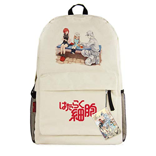 WANHONGYUE Cells at Work Anime Backpack Casual Daypack Mochila Infantil Bolsa de Viaje Niña Niño Beige /1