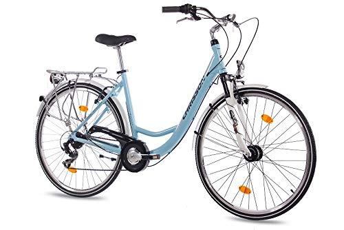 CHRISSON 28 Zoll Damen City Bike - Relaxia 1.0 blau - Damenfahrrad mit 6 Gang Shimano Tourney Kettenschaltung und Nabendynamo, Cityfahrrad mit Zoom Federgabel