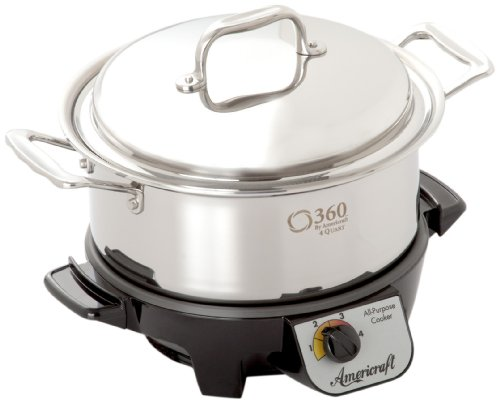 360 Stainless Steel Slow Cooker, 4 Quart Stock Pot is Induction Cookware, Waterless Cookware,...