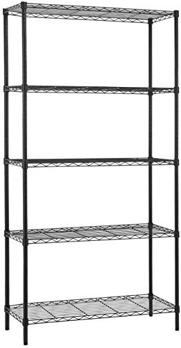 5-Shelf Height Adjustable Metal Wire Shelving Unit NSF Certified Heavy Duty Shelves Steel Organizer Wire Rack Shelves for Storage Kitchen Home 1250 LBS Capacity- 36 L x 14 W x 72 H Black