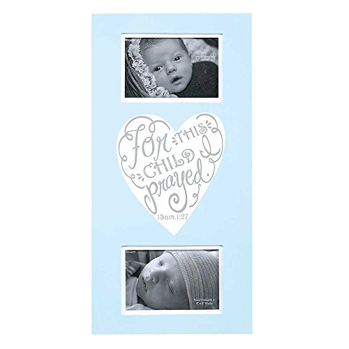 Dicksons Baby Boy Wall Plaque Photo Frame, for This Child I Prayed/Blue