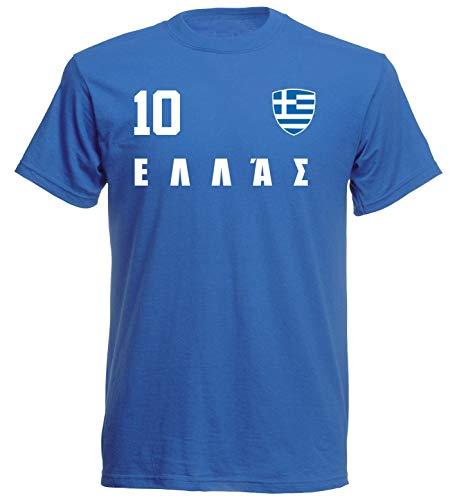 Griechenland Hellas WM 2018 T-Shirt Trikot Style - Blau ALL-10 - S M L XL XXL (L)