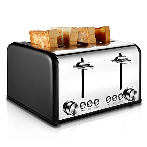 Toaster 4 Slice, CUSIBOX Stainless Steel Toaster with Bagel, Defrost, Cancel Function, Extra Wide...