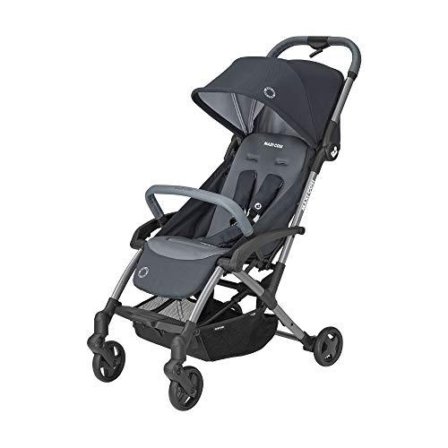 Maxi-Cosi Laika 2 Cochecito bebé plegable con una sola mano, ligero y compacto, hamaca alta y reclinable con posición para dormir, burbuja de lluvia includida, essential graphite