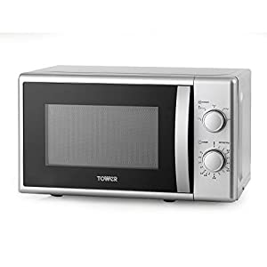 Tower T24034SIL Microwave, Large 20L Capacity with Manual Controls and 5 Power Levels, 700 Watts, Silver