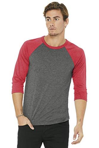 Baseball-Shirt aus Canvas-C3200-Material, Unisex, 3/4-Arm, meliert Gr. L, Grey/Lt Red Triblend