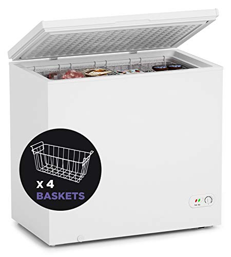 7 Cubic Feet Chest Freezer Free-Standing Top Door Freezers with Saving Energy Efficiency and Low-Noise, Adjustable Temperature with 4 baskets for Home/Kitchen/Bar (White)