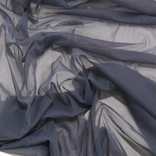 TOLKO Chiffon Stoff zarter Modestoff | Dekostoff zum Nähen und Dekorieren | Halb transparent, knitterarm | Meterware Tüll Voile (Silber Grau)