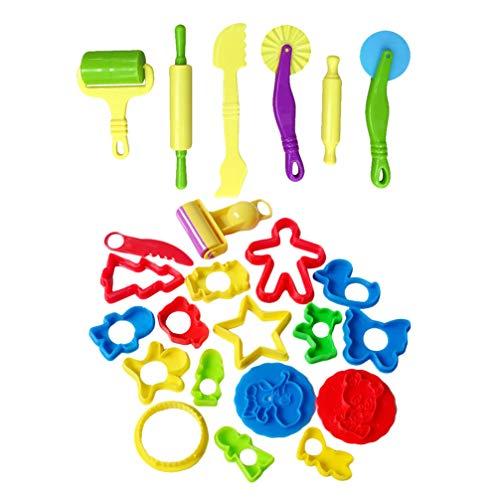 TOYANDONA 24 Stks Plastic Kleurrijke Duurzaam Multifunctioneel Deeg Gereedschap Klei Deegroller Handheld Roller Art Klei Speelgoed Voor Kinderen Ambachtelijke Diy Kinderen